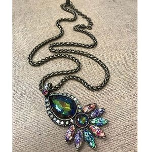 Antiqued Gold Peacock Pop Crystal Pendant Necklace
